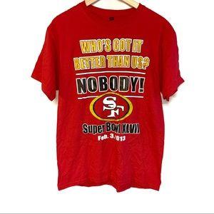 San Francisco 49ers red super bowl graphic shirt